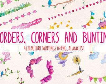 Borders, Corners and Bunting  - 40 Elements - Watercolor Graphics Kit Bundle!