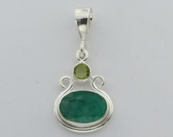 Genuine and Natural Green EMERALD and Peridot Pendant 925 Sterling Silver