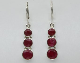 Genuine and Natural Red Triple Round RUBY Earring in 925 STERLING SILVER - Leverback / Lever back closing