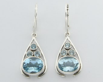Genuine and Natural BLUE TOPAZ Dangle Earrings in 925 Sterling Silver with Leverback / Lever Back closing