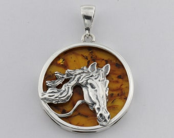 Gorgeous Baltic Amber Pendant Horse with Silver 925