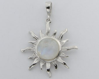 Genuine and Natural Rainbow MOONSTONE Sun Pendant in 925 STERLING SILVER with a Rhodium finish