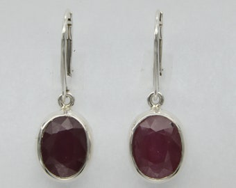 Genuine and Natural Red Oval RUBY Earring in 925 STERLING SILVER - Leverback / Lever back closing