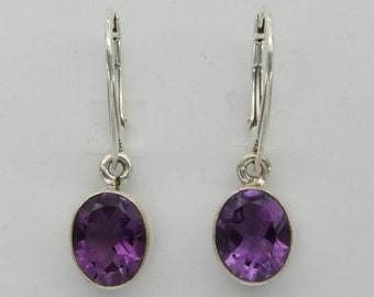Genuine and Natural Purple  / Violet Oval AMETHYST Dangle Earrings - 925 Sterling Silver with Leverback / Lever Back / opeable French hooks