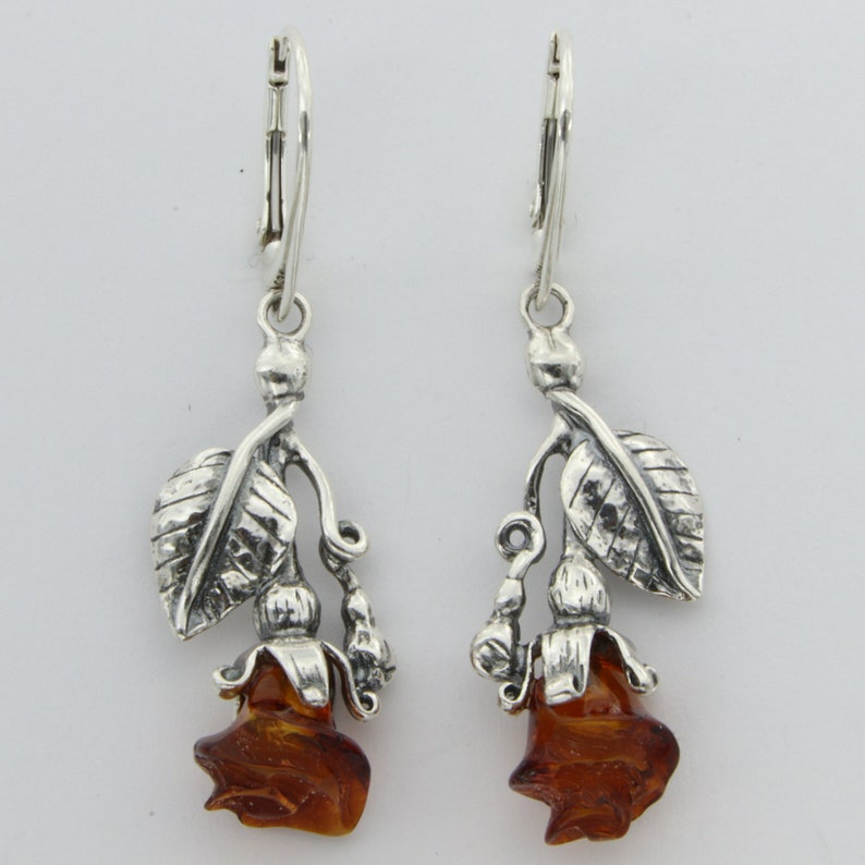 Genuine and  Natural Brown  Cognac Dangle BALTIC AMBER Rose Earrings in 925 Sterling Silver Leverback  Lever Back closing  French Hooks