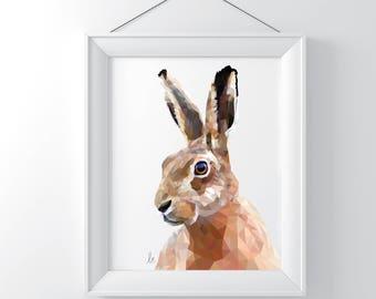 Geometric Hare Print - Mahala Creations - Animal Print - Hare Print - Rabbit Print - Southsea Artist
