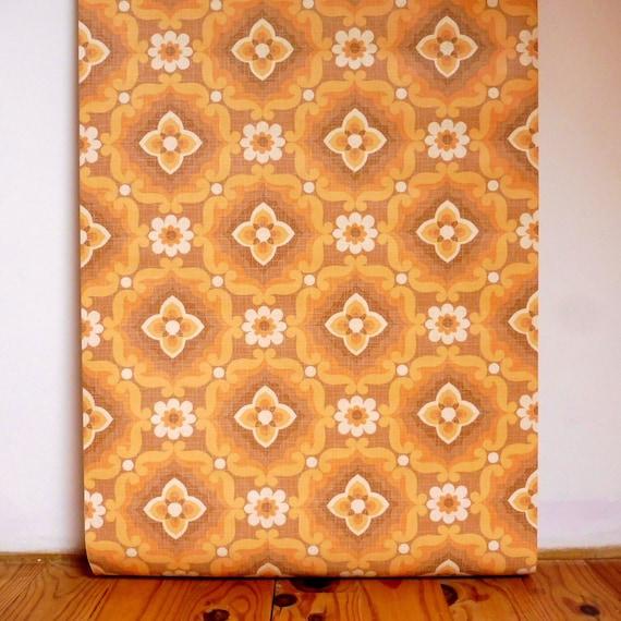 Papier Peint Orange Papier Peint Vintage Papier Peint Etsy