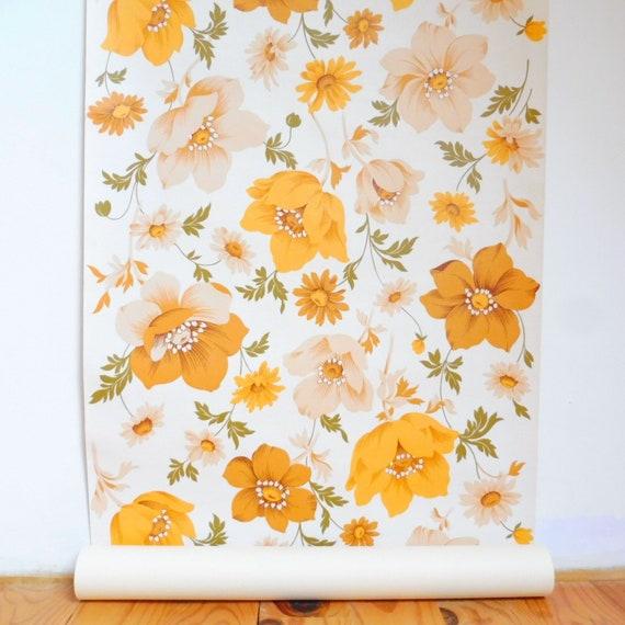 papier peint fleurs vintage papier peint orange papier. Black Bedroom Furniture Sets. Home Design Ideas