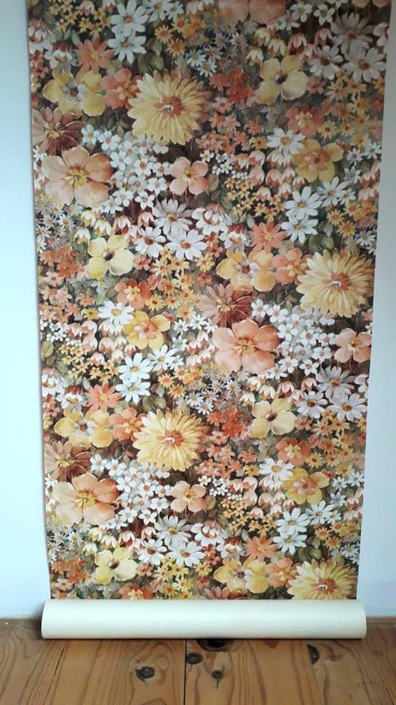Vintage Retro Floral Wallpaper Etsy