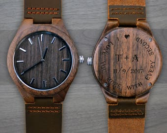 Personalized Wooden Watch, Personalized Watch, Engraved Watch, Engraved Wood Watch, Mens Wood Watch, Gifts for Him, Gifts for Dad. WW302