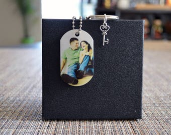 Personalized  Photo Dog Tag necklace, Custom Photo Tag, Picture Dog Tag, Custom photo keychain, Husband Memorial, Wife Memorial necklace