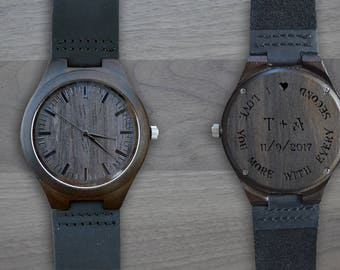 Personalized Wooden Watch, Personalized Watch, Engraved Watch, Engraved Wood Watch, Mens Wood Watch, Gifts for Him, Gifts for Dad