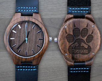 Personalized Wooden Watch, Personalized Watch, Engraved Watch, Engraved Wood Watch, Mens Wood Watch, Gifts for Him, Gifts for Dad. WW408