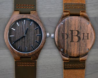 Personalized Wooden Watch, Personalized Watch, Engraved Watch, Engraved Wood Watch, Mens Wood Watch, Gifts for Him, Gifts for Dad. WW309