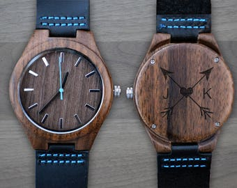 Personalized Wooden Watch, Personalized Watch, Engraved Watch, Engraved Wood Watch, Mens Wood Watch, Gifts for Him, Gifts for Dad. WW405