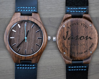 Personalized Wooden Watch, Personalized Watch, Engraved Watch, Engraved Wood Watch, Mens Wood Watch, Gifts for Him, Gifts for Dad. WW401