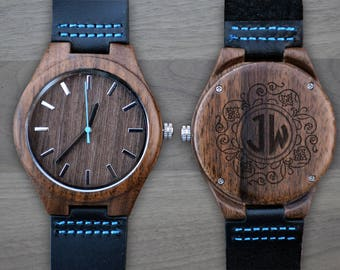 Personalized Wooden Watch, Personalized Watch, Engraved Watch, Engraved Wood Watch, Mens Wood Watch, Gifts for Him, Gifts for Dad. WW403