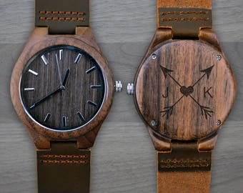 Personalized Wooden Watch, Personalized Watch, Engraved Watch, Engraved Wood Watch, Mens Wood Watch, Gifts for Him, Gifts for Dad. WW305