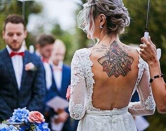 22d01087a92 Handmade Vintage Style Lace Long Sleeve Open Back Boho Bridal Provence  Wedding Winter Dress
