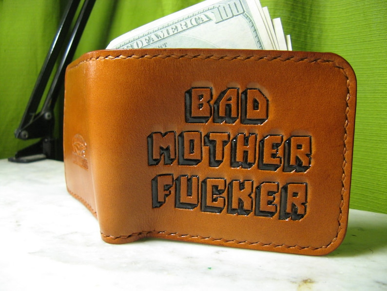 BAD MOTHER FUCKER Carved Leather Wallet 11.5 \u0445 9.5 \u0441\u043c.