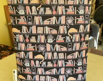 Shelfie and cats booksleeve book cover book pouch bookbestie book sleeve pattern may vary **zip sold separately**