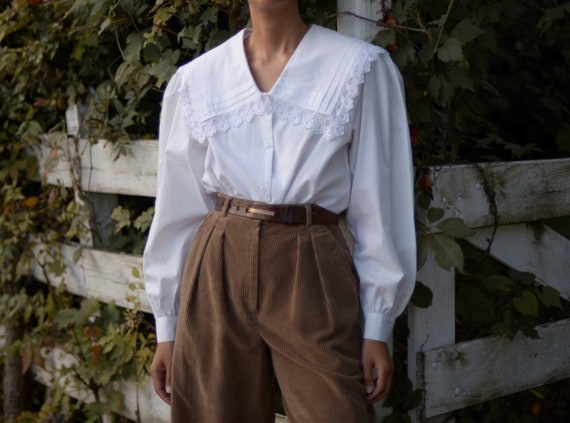 80s statement collar puff sleeve romantic blouse … - image 1
