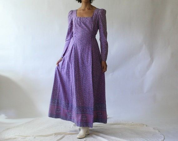 60s purple Indian cotton hand printed prairie dres