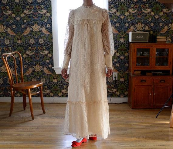70s LIBERTY HOUSE lace ruffle full length prairie