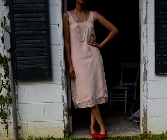 1930s silky rayon salmon pink slip dress with lace