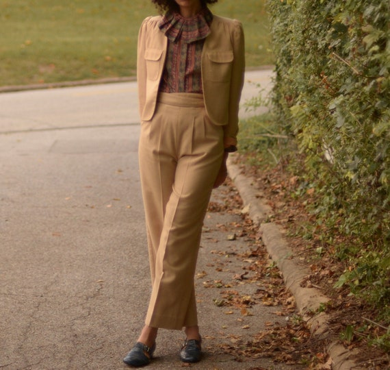 1970s tan flax blend high waist pant suit // small
