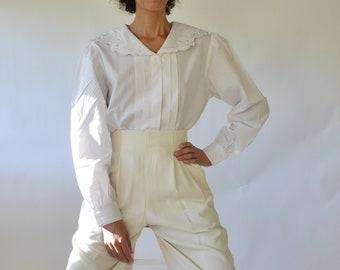 80s deadstock cotton blend puff sleeve sailor blouse with floral applique // xs-l