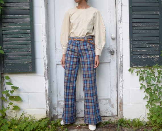 70s wool plaid bell bottom trousers // 30W
