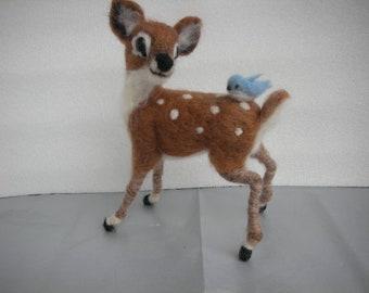 Needle felted Bambi with Bluebird