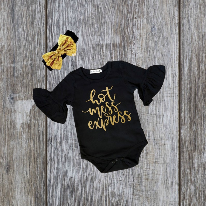 549dd3db0 Ruffled baby onesie hot mess shirts black baby girl clothes | Etsy