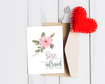 """Print   Valentine's Day Card + Love Quote - """"You're A Rose"""" - Printable, Digital File"""