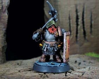 Dwarf Male Fighter, Sword and Shield Miniature, Dungeons and Dragons, Tabletop RPG, D&D, Pathfinder, 28mm miniature, 32 mm miniature