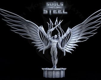 Guardian of all Metal, Winged Warforged, Warforged Steel Wings, Tabletop D&D RPG, Mini Monster Mayhem, The Souls within Steel