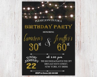 Joint birthday etsy adult joint birthday invitation joint birthday party invitation combined party co birthday gold glitter glam glitter birthday invite122 filmwisefo