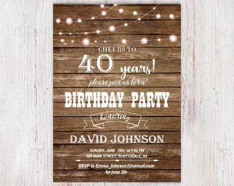 40th birthday invitations etsy 40th birthday invitation cheers to 40 years fairy string lights wood printable rustic any age 30th 50th 60th 70thg 29 filmwisefo