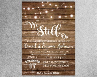 We still do invites etsy vow renewal invitation wedding anniversary invitations we still do invite rustic string lights light bulb inviteson jar invitation44 stopboris Images
