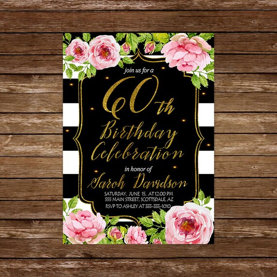 60th Birthday Dinner Invitation. PINK And GOLD Floral 60th