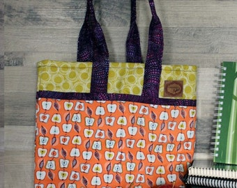 Bag for knitting, Tote, 5 pockets, quilted, lined and interlined, 35cm X 38cm, strap 46cm long, gift for her