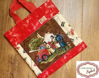 Tote all firefighter, quilted, lined, interlined, 33cm H X 28 cm, handle 24cm, gift for child