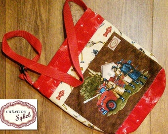 Tote all firefighter, quilted, lined, interlined, 33cm H X 28 cm L, strap adjustable 82cm, gift for child