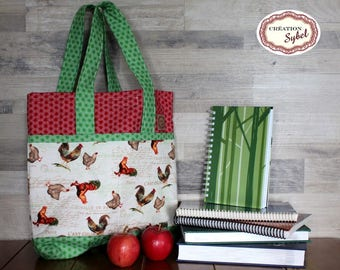 Bag Rooster tote bag, bag for knitting, Tote, 5 pockets, quilted, lined, interlined, 35cm X 38 cm, strap 40cm, gift for her