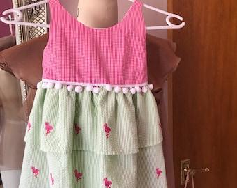 Little girls cotton sundress with pom pom trim