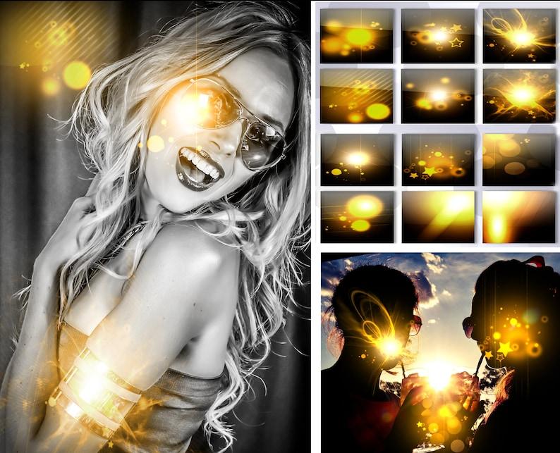 Golden Light Stars Bokeh PNG Overlay Sun Lens Flare Sunlight Leaks Sunshine  Fairy dust Magic effect Glitter Sparkle Digital photography prop