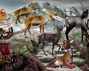 Digital Christmas deer Reindeer Photoshop overlay Winter backdrop Animal PNG isolated Fairy background landscape Magic Fantasy Photography