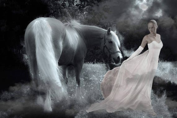 Horse Digital Backdrop Fairy Background Photoshop Overlay Enchanted Forest Fantasy Landscape Nature Photo Prop Photography Art Photographer