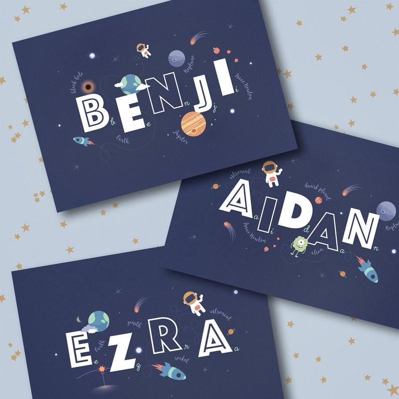 Personalised Space Print Personalised Nursery Print Boys image 0